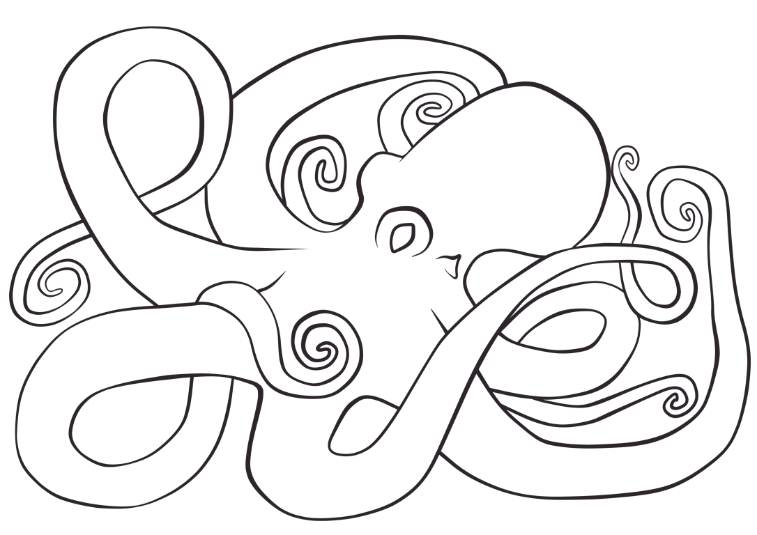 Octopus Coloring Page-Fill Paper