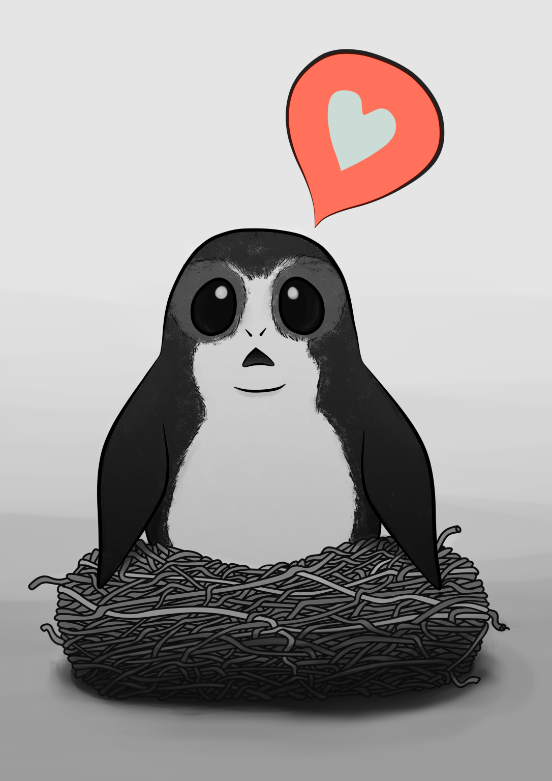 Porg- BnW with Heart